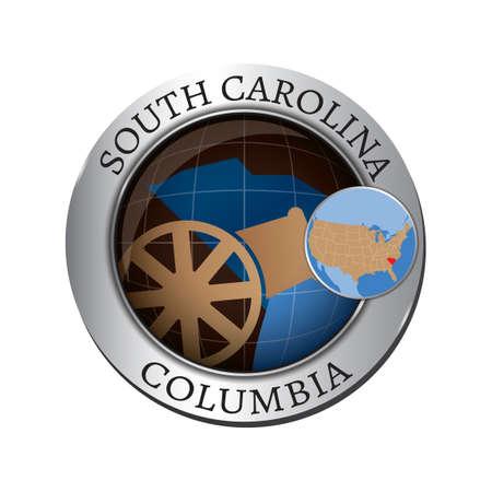 carolina: South carolina state with cannon badge