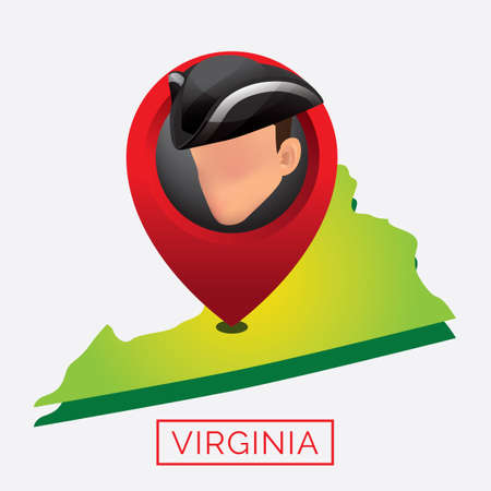 virginia: Map of virginia state Illustration