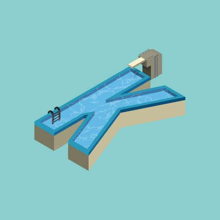 Isometrische zwembad ontwerp van het alfabet K Stock Illustratie