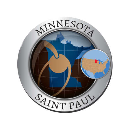 minnesota: Minnesota state with spoon bridge and cherry badge