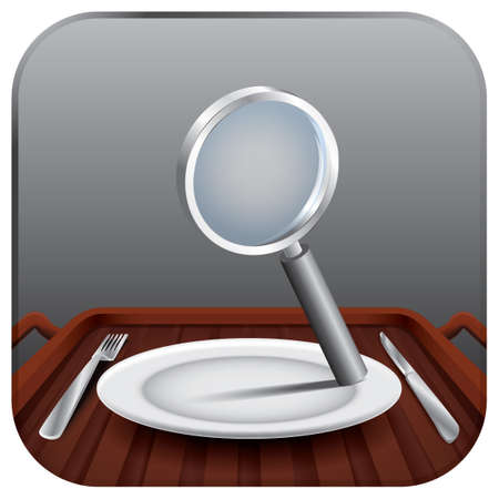 plate: Magnifying glass on a plate Illustration
