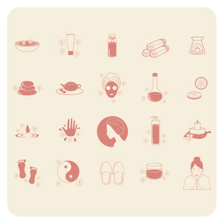 dispensary: Collection of spa icons Illustration