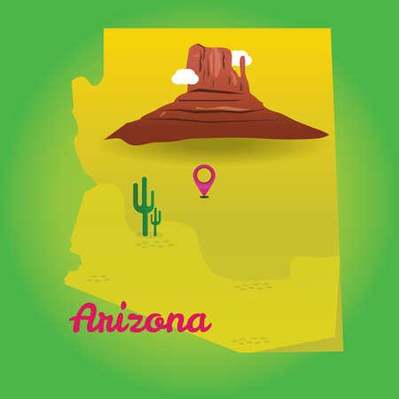 state of arizona: Map of arizona state