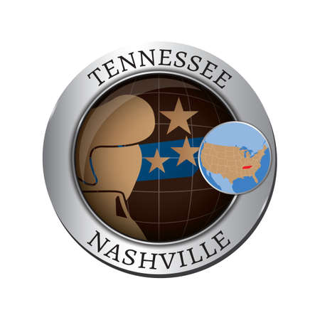 tennessee: Tennessee state with elvis presley badge