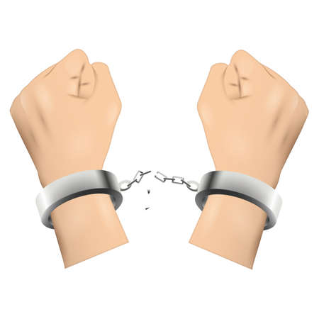 handcuff: Hands breaking handcuffs