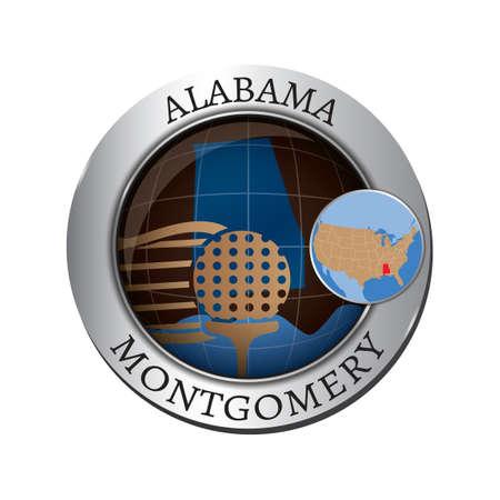 alabama state: Alabama state with golf ball badge