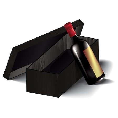 red wine bottle: Botella de vino rojo con la caja Vectores