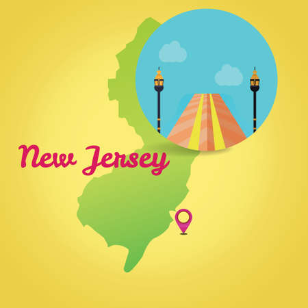 jersey city: Map of new jersey state