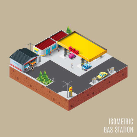streetlight: Isometric gas station Illustration