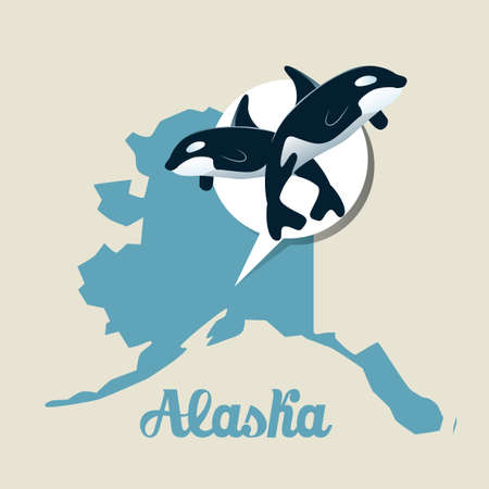 alaska map: Alaska map with orca icon
