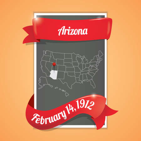 state of arizona: Arizona state map poster Illustration