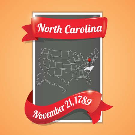 north carolina: North carolina state map poster Illustration