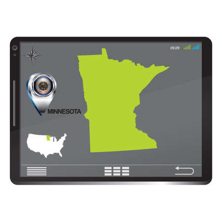 minnesota: Tablet pc with minnesota map Illustration