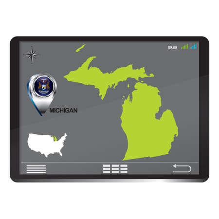 michigan: Tablet pc with michigan Illustration