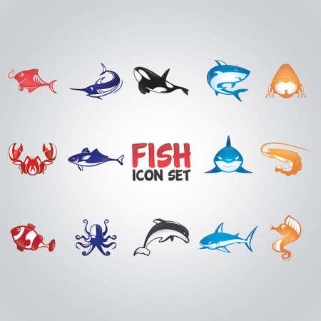 Conjunto de iconos de pescado