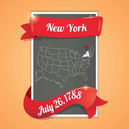 twenty six: New york state map poster