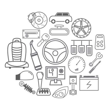 auto parts: Collection of auto parts Illustration