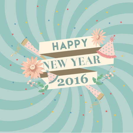 party poppers: Happy new year 2016 Illustration