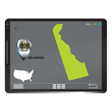 pc: Tablet pc with delaware map Illustration