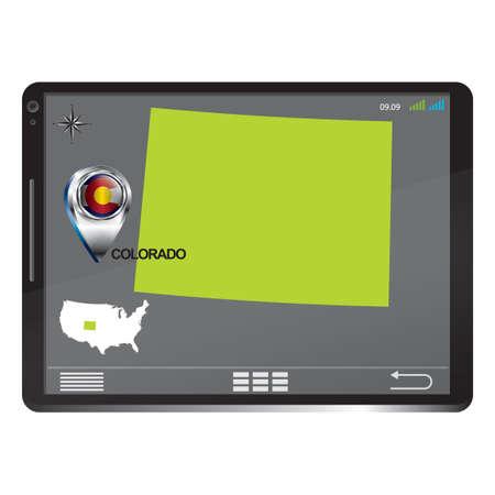 colorado: Tablet pc with colorado map