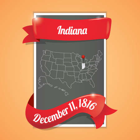 indiana: Indiana state map poster Illustration