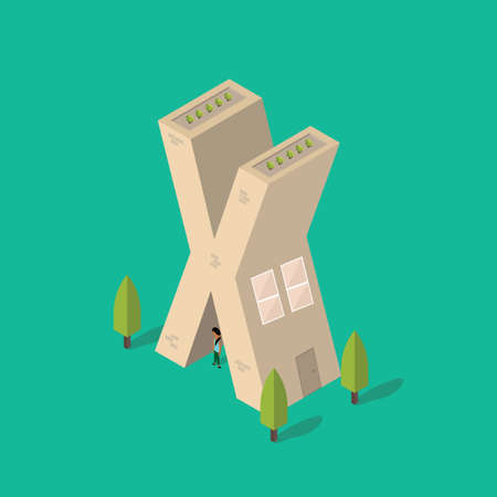 x stand: Isometric building with alphabet X