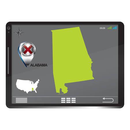 alabama: Tablet pc with alabama map