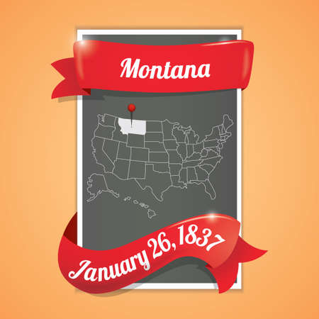 26th: Montana state map poster