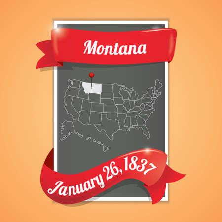 twenty six: Montana state map poster