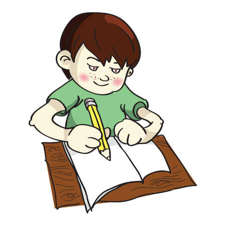 young schoolchild: Boy studying