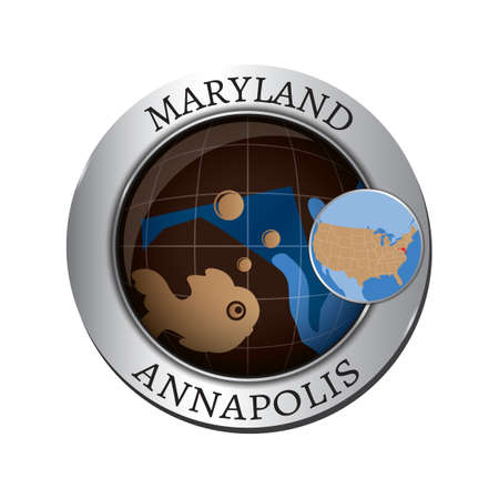 maryland: Maryland state with fish badge