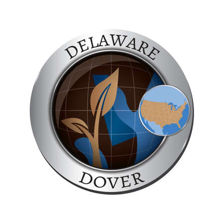 saplings: Delaware state with plant badge Illustration
