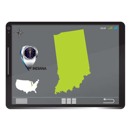 indiana: Tablet pc with indiana map Illustration