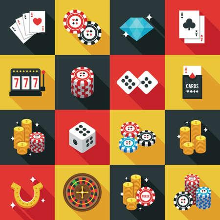 wheel of fortune: Casino icons set