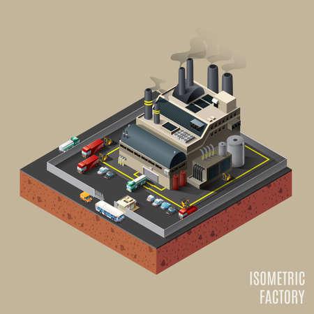 Isometric factory Vektorové ilustrace