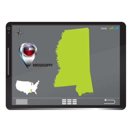 mississippi: Tablet pc with mississippi map Illustration