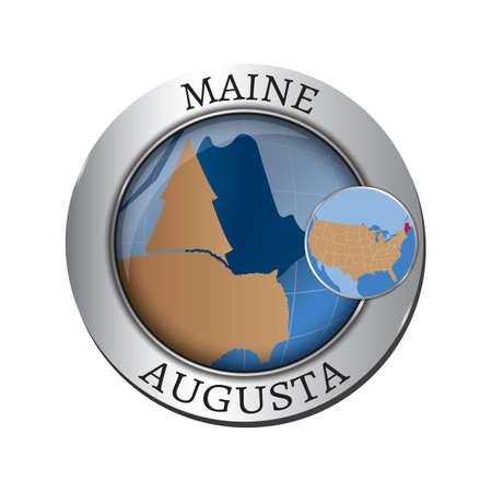 albero pino: Maine state with pine tree badge