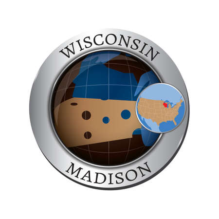 wisconsin state: Wisconsin state with cheese badge