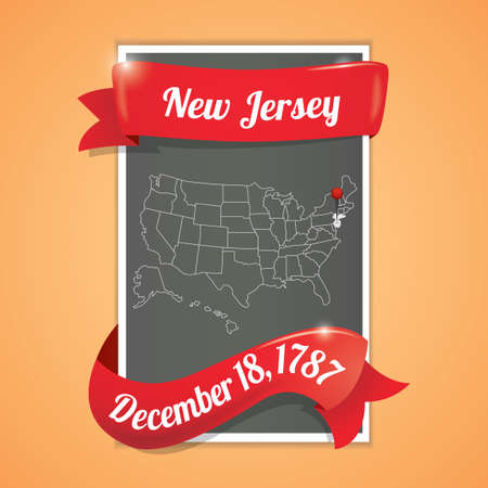 eighteen: New jersey state map poster