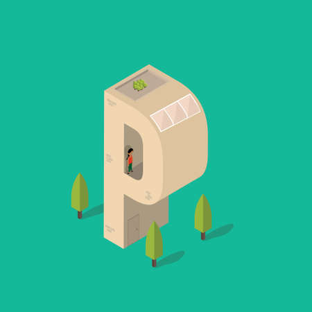 plant stand: Isometric building with alphabet P