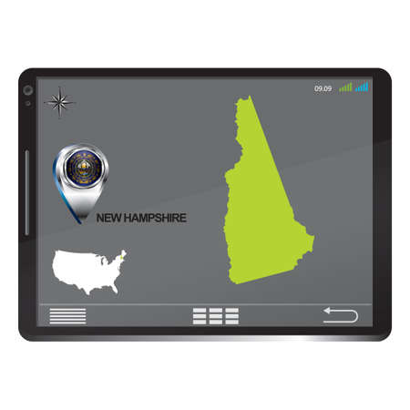 hampshire: Tablet pc with new hampshire map Illustration