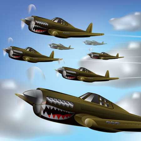 Fighter aircrafts in the sky Illustration
