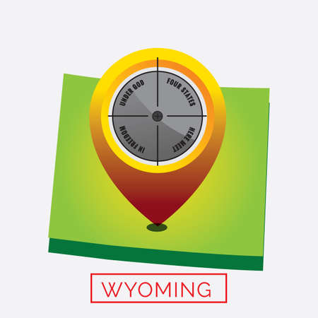 four corners: Map of wyoming state