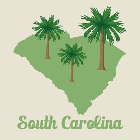 palmetto: South carolina map with sabal palmetto icon Illustration