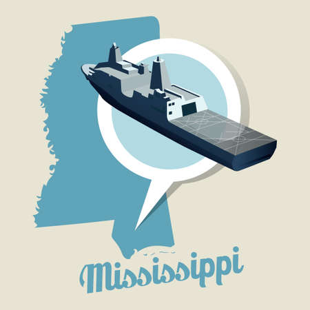 port: Mississippi map with uss navy port icon Illustration