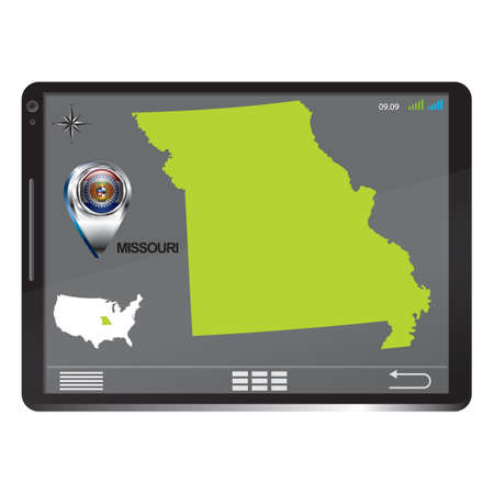 pc: Tablet pc with missouri map Illustration