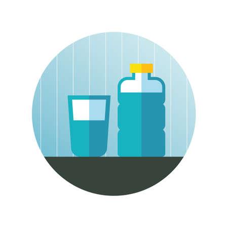 sediento: Botella y vaso de agua