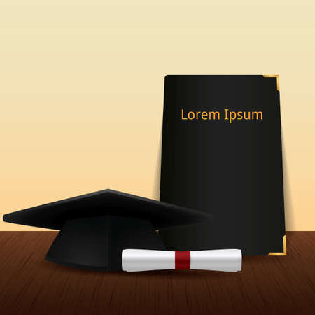 Mortarboard with scroll and book