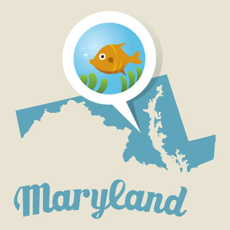 baltimore: Maryland map with baltimore aquarium icon