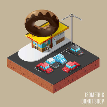 donut shop: Isometric of donut shop